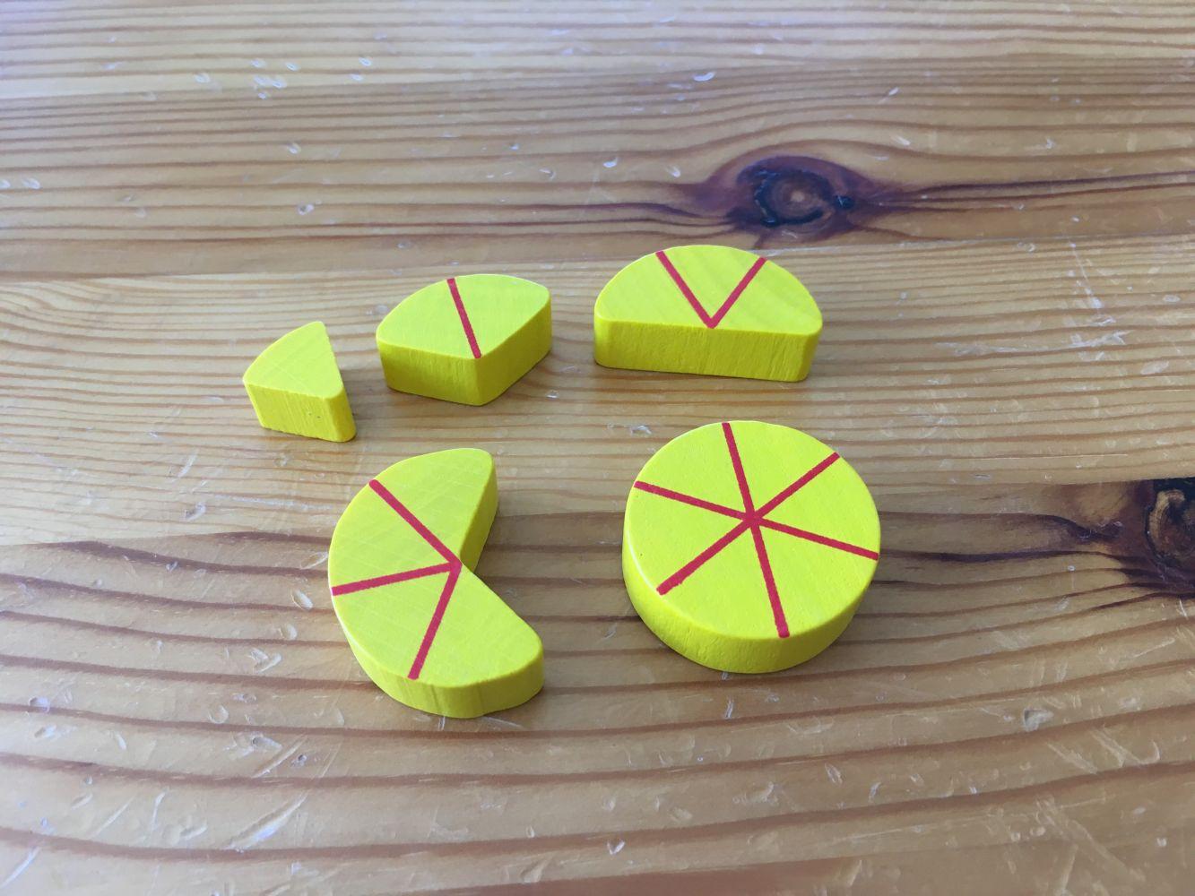 Les différentes tailles de morceaux de fromage