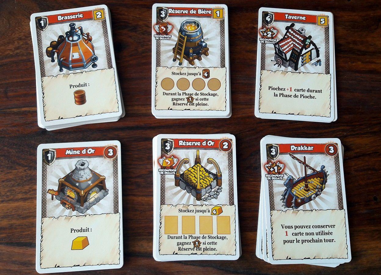 Seulement 6 bâtiments dans le jeu de base et tous disponibles lors de chaque partie