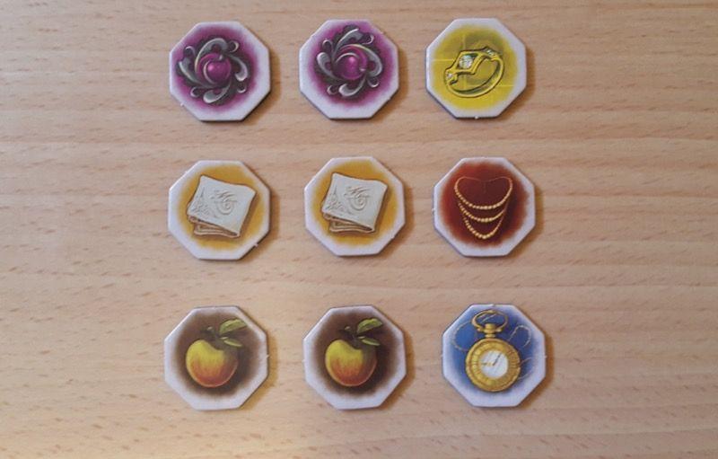 Les 9 jetons de départ (hexagonaux)