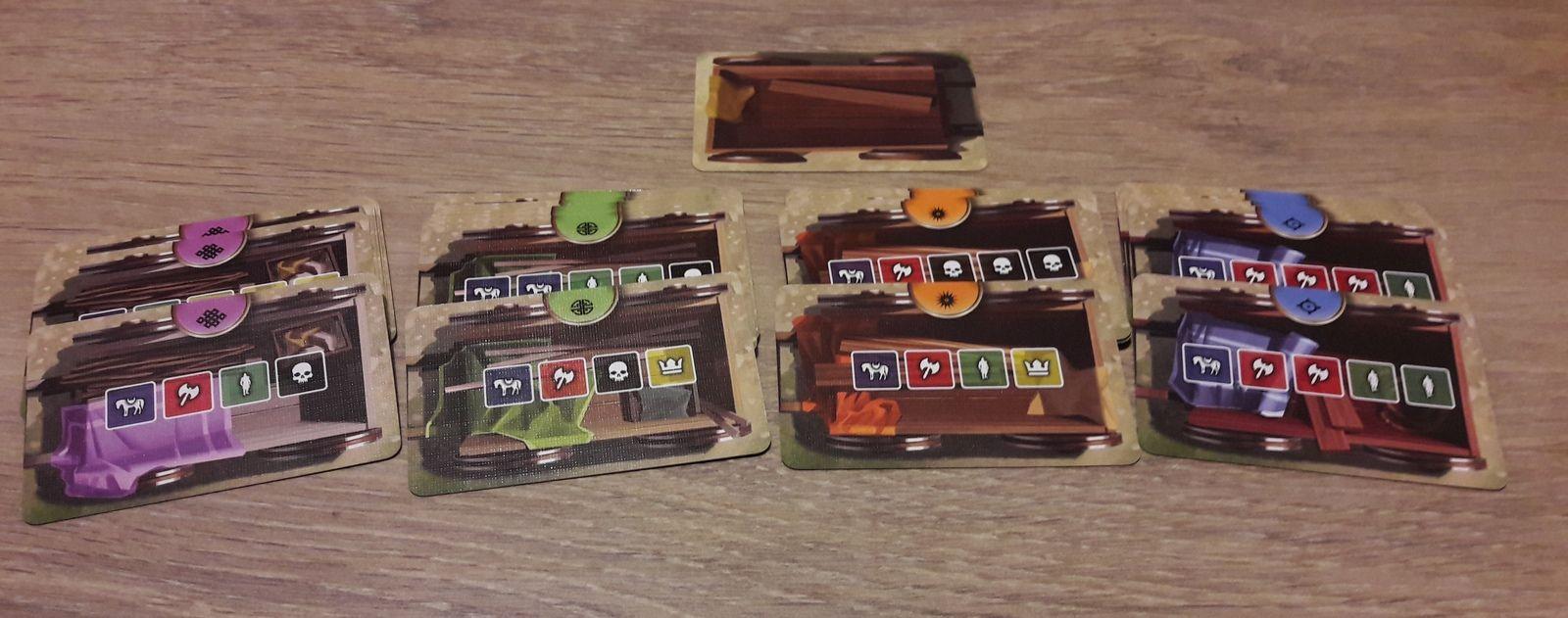 4 type de chariots : mauve, vert , orange, bleu