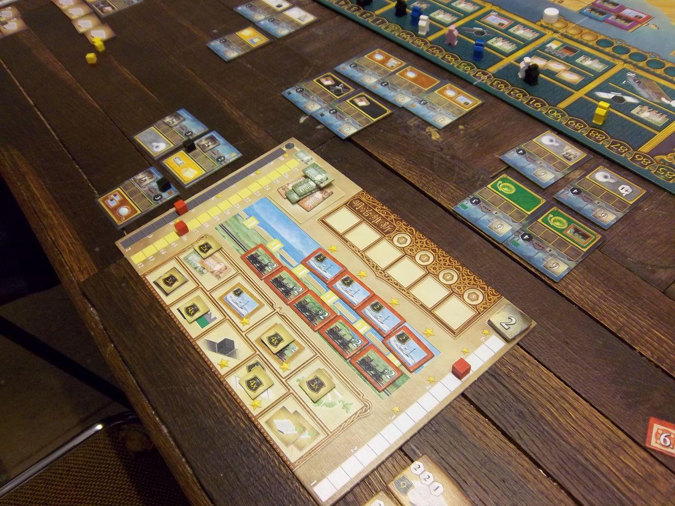 Mon plateau en fin de partie... j'ai un peu oublié les trains et les navires...