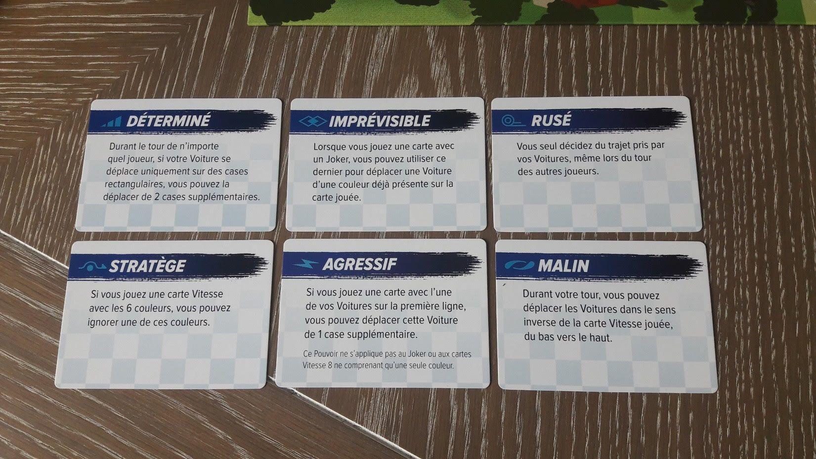 6 pouvoirs pour six voitures.
