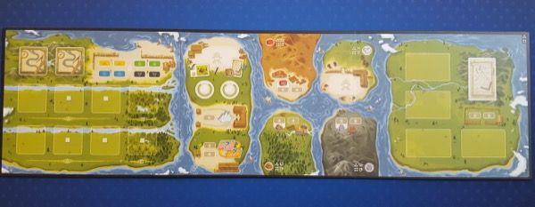 La plateau face 3/4 joueurs représentant 7 îles