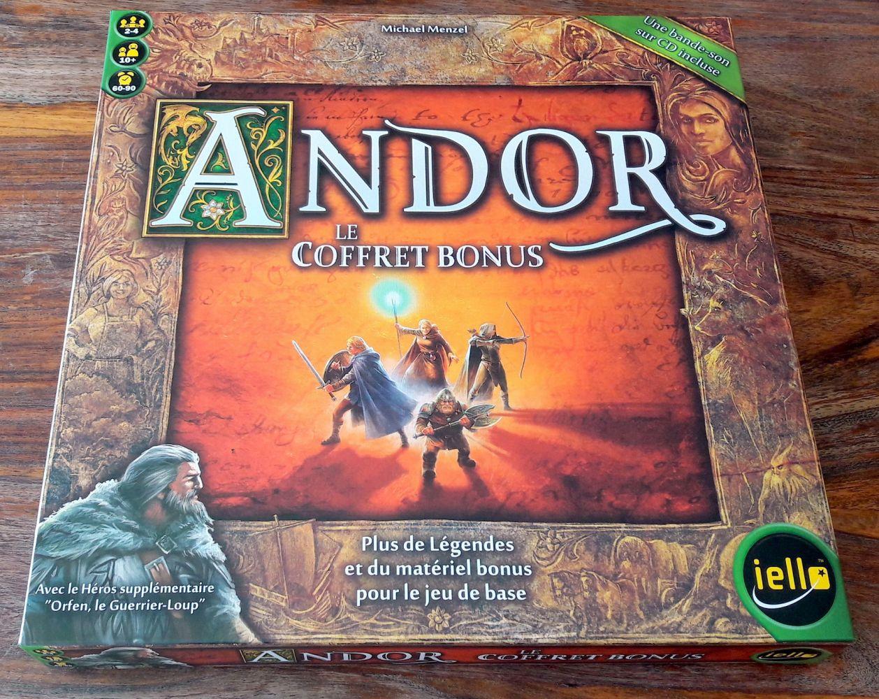 On retrouve bien là l'illustration de la boite de base d'Andor mais dans un écrin.