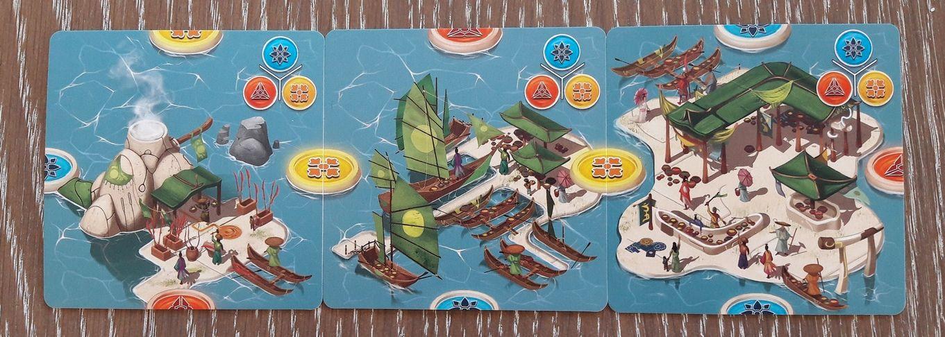 Les cartes îles.  5/5 : les bâtiments commerciaux. On y troque des hallebardes et des épices.