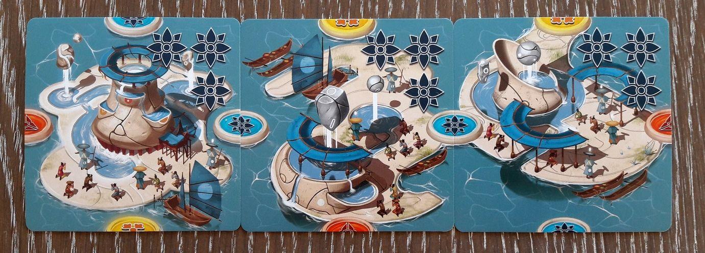 Les cartes îles.  4/5 : les bâtiments religieux.  Le culte de la pierre qui vole et qui fait couler de l'eau !