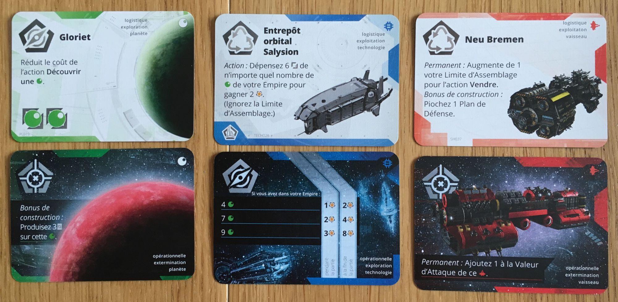 Les trois types de cartes