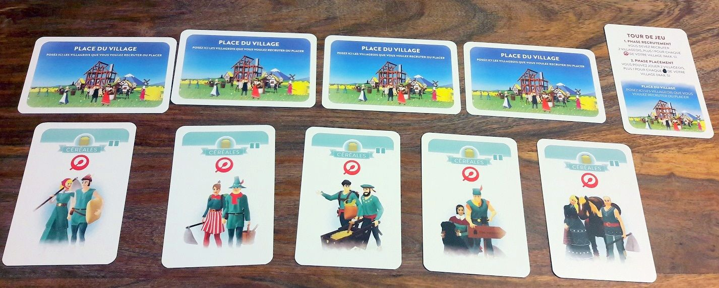 5 places de village / rappel de tour de jeu et 5 compagnons de départ.