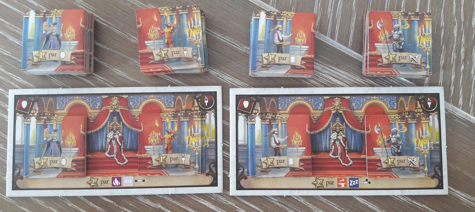 4 types de proposés royaux. Illusionniste, Jongleur, Peintre et Garde.