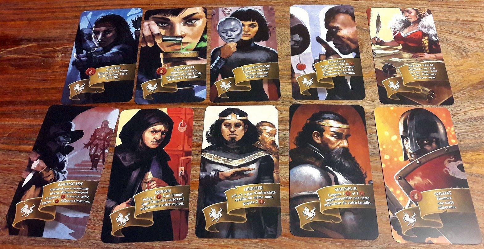 10 cartes par famille mais seulement 7 à chaque partie