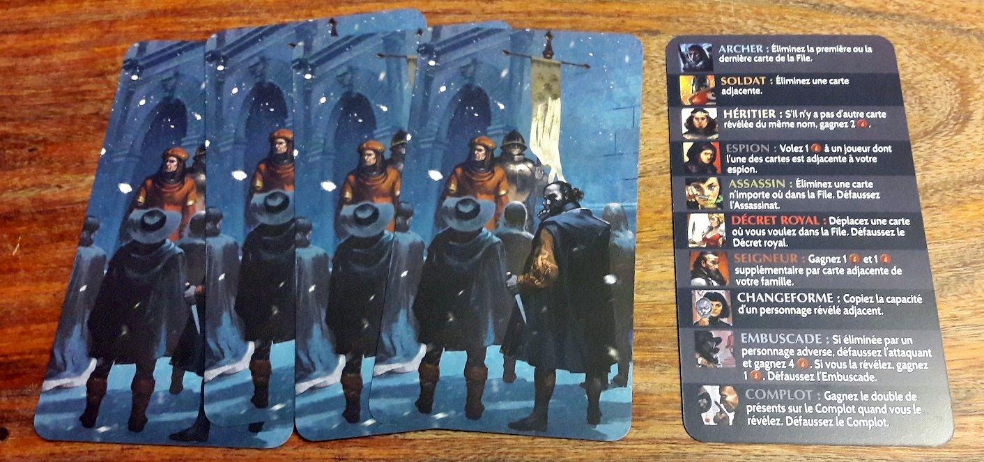 Chacun son aide de jeu avec le rappel des 10 cartes en jeu et de leurs pouvoirs respectifs