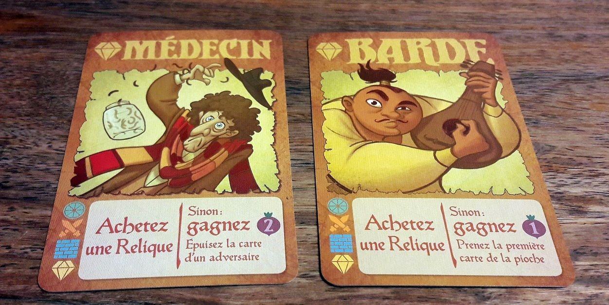 Seulement 2 cartes car leur but est principalement d'acheter des reliques (la condition de victoire étant d'en avoir 3) ou d'acheter des cartes dans la rivière !