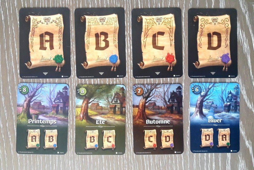"""Les 4 cartes """"décrets"""" (A, B, C et D ) et les 4 cartes """"saison"""". A la fin du printemps on compte les points des décrets A et B . En été B et C ..etc"""