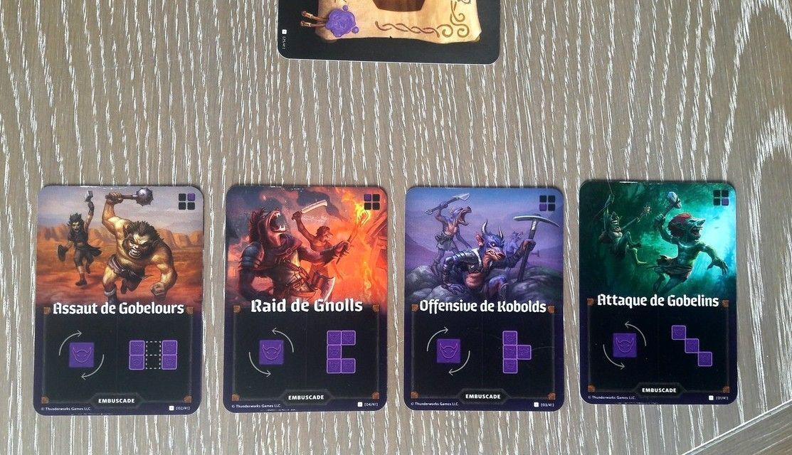 """Les 4 cartes """"embuscades""""."""