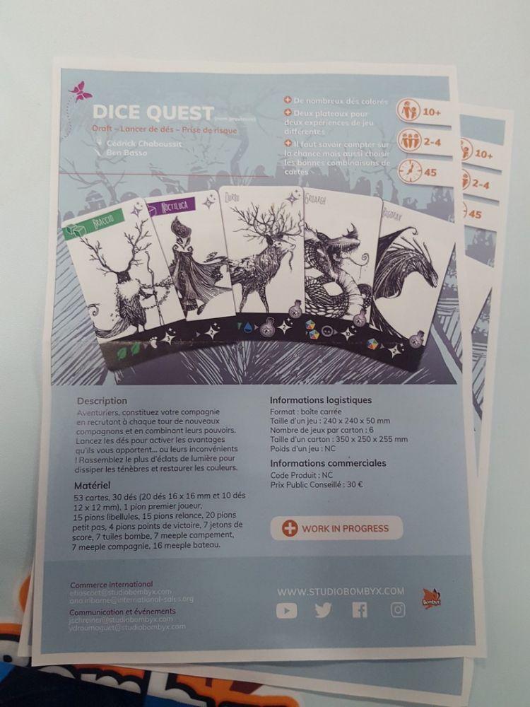 Chez Bombyx, trois protos (le troisième = l'extension d'Imaginarium) étaient présentés dont Dice Quest (titre non définitif) le jeu de Cédric Chaboussit.