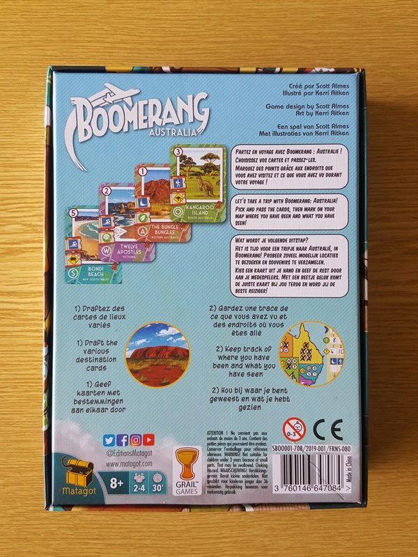 Le dos de boite : un jeu pour 2 à 4 joueurs à partir de 8 ans pour des parties de 30 minutes.