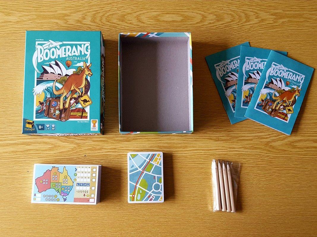 Le contenu de la boite : 28 cartes, 4 crayons, un carnet de score et 3 règles du jeu (français, anglais et néerlandais).