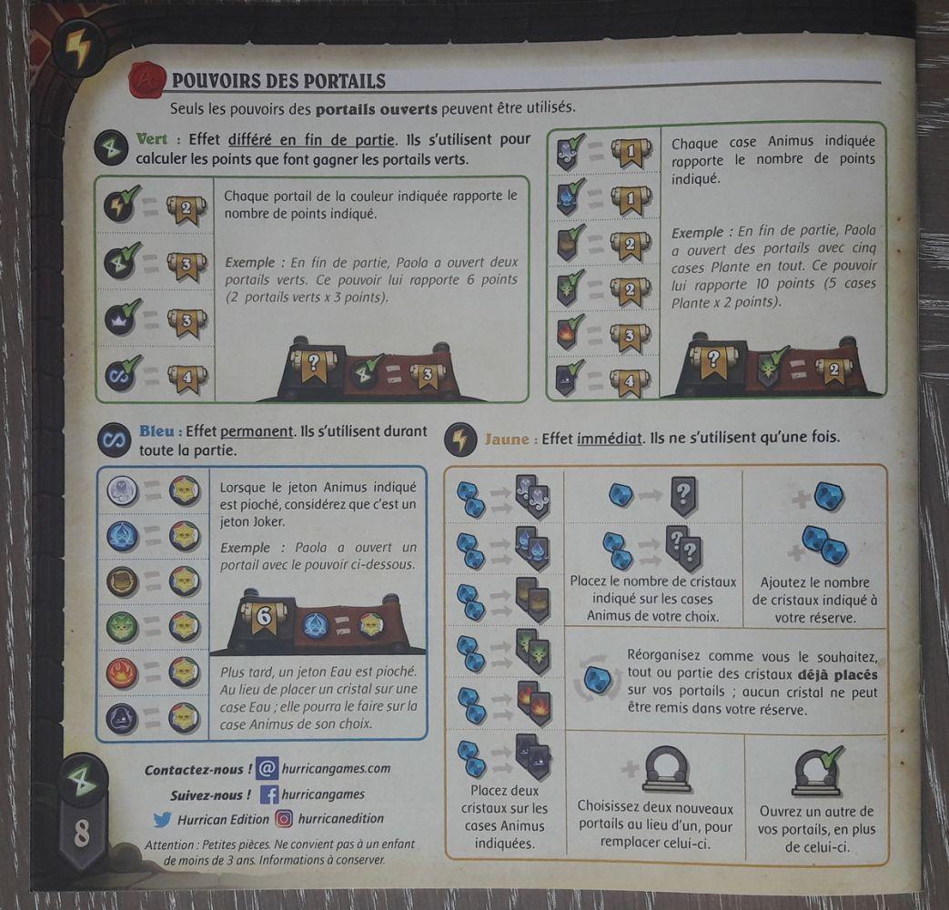 Détail sur les pouvoirs de 3 des familles de portails (la quatrième famille n'apporte que des points).