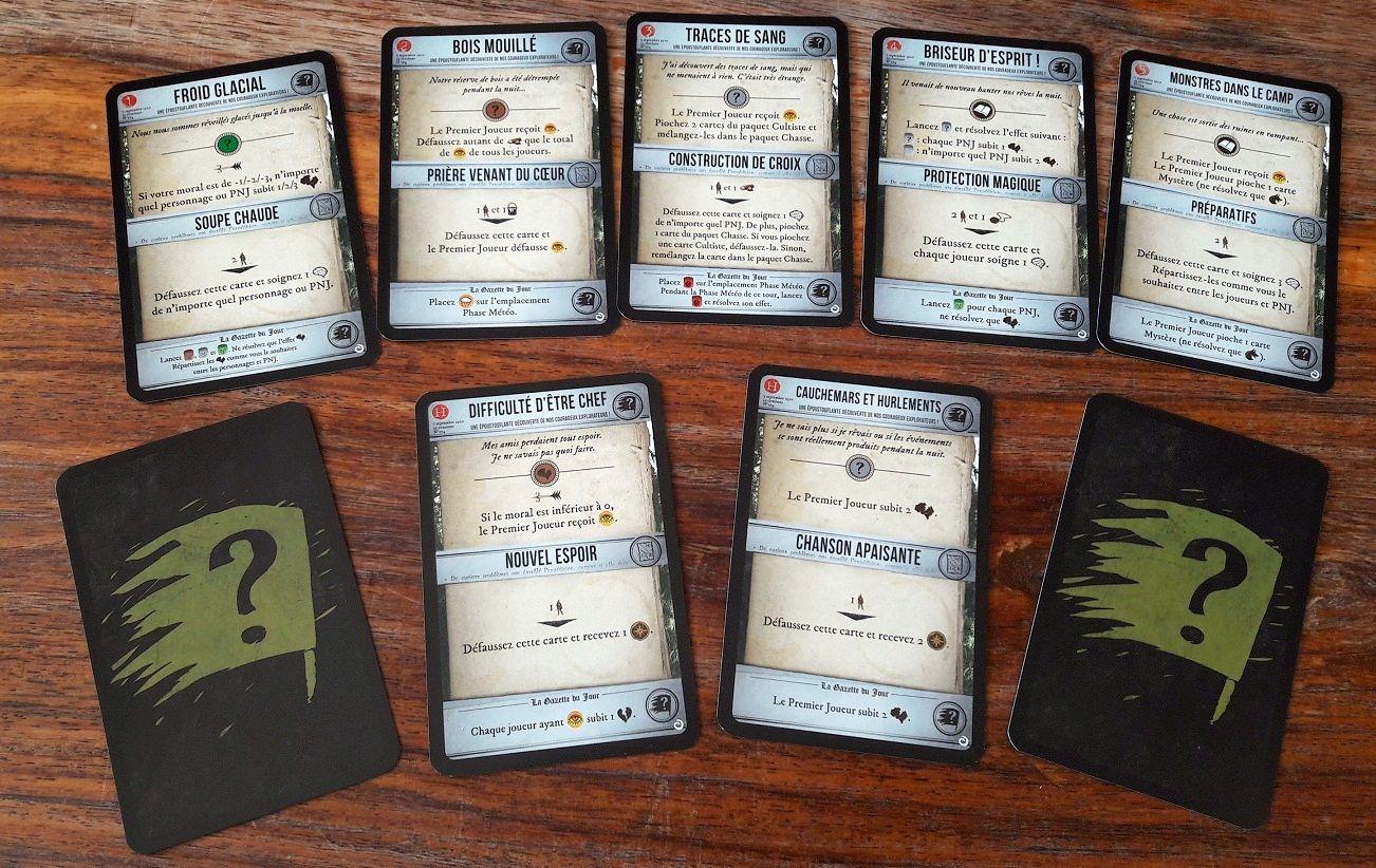 De nouveaux évennements pour chaque scénario de la campagne (numérotés de 1 à 5) et pour lemode horreur (H) viennent remplacer celle du jeu de base