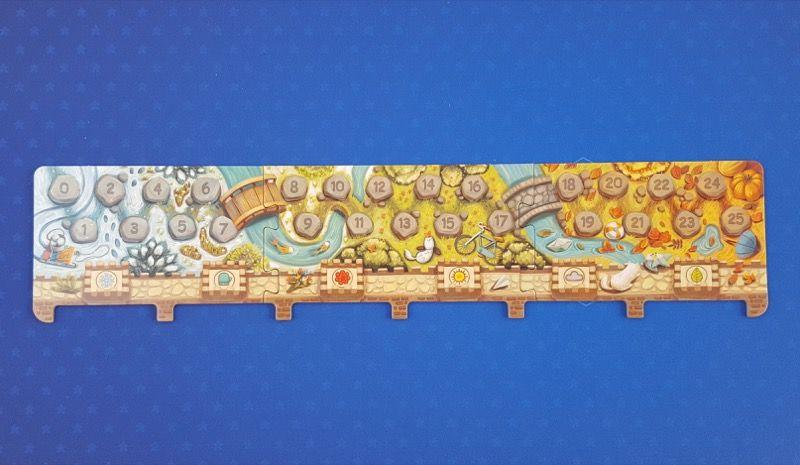 La piste de vote et de score : 3 pièces de puzzle à assembler.