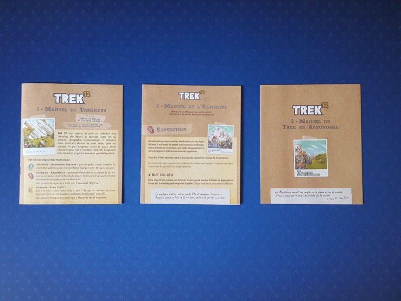 Pas moins de 3 livrets de règles pour 3 niveaux de jeu : le manuel du Trekkeur pour une ascension express, le manuel de l'alpiniste pour un mode expédition et le manuel du trek en autonomie pour un mode free solo.