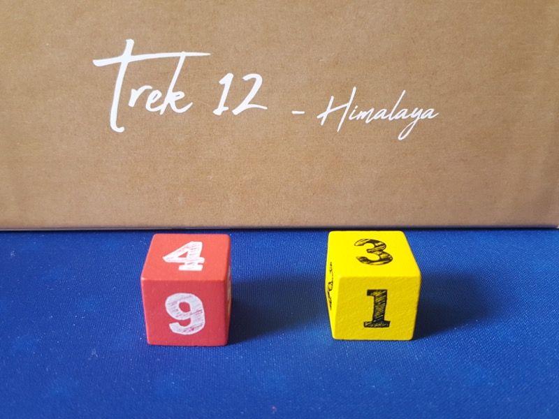 Les deux dés carrés (rouge 1 à 6 et jaune 0 à 5)... pour ne pas rouler trop loin !