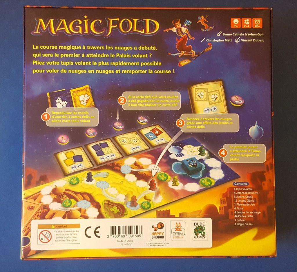 Le dos de la boite qui donne une première idée du matériel et de la mécanique du jeu