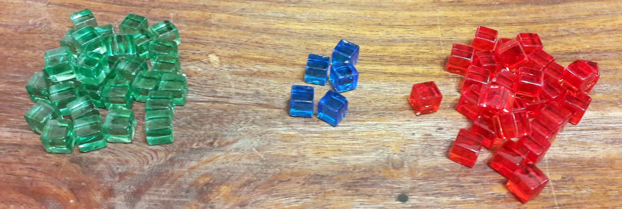 Que serait une tour à cubes sans cubes (rouges = failles : pas bien), les verts (énergie = bien !), les bleus utilisés pour une variante.