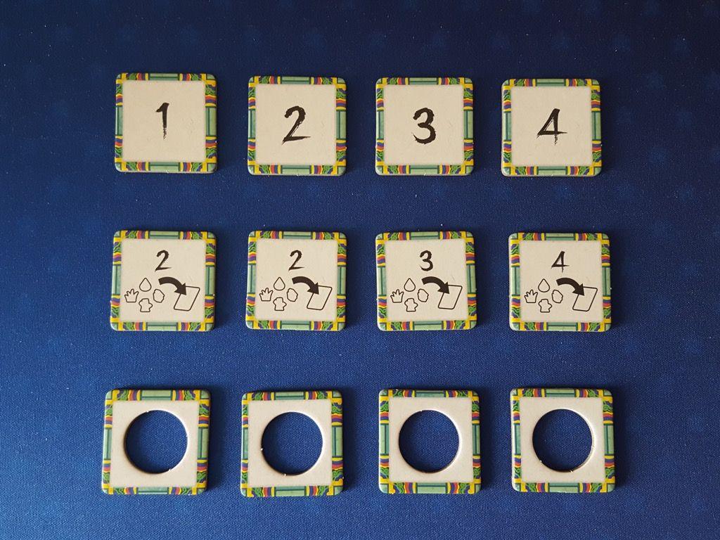 De haut en bas, les jetons sont rangés dans l'ordre décroissant : Points supplémentaires, jokers (gain du nombre de ressources indiquées,), extension d'une tuile Planification.