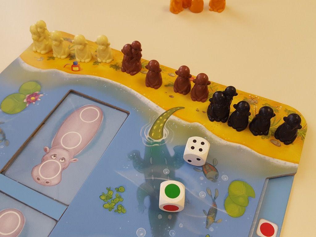 Placer les singes sur le sable au début du parcours (3 singes seulement à 4 joueurs donc sans la maman).