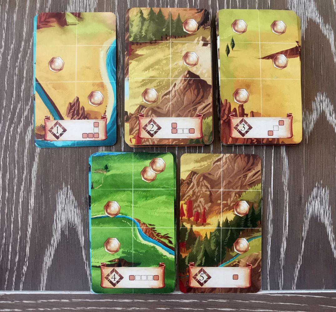 """Les cartes """"zone"""" : 5 cartes sur les 43 avec des valeurs de 1 à 5."""