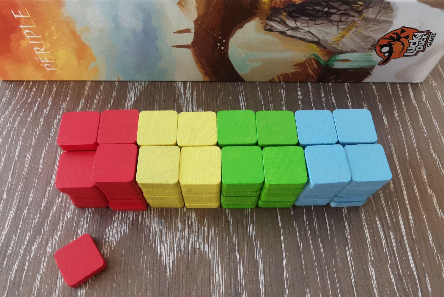 Les marqueurs : 24 par joueurs …  statistiquement suffisant pour un territoire de 36 cases mais compliqué si on joue avec l'empilement.