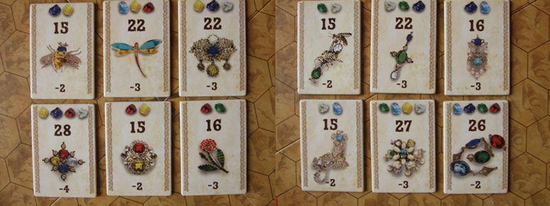 les cartes commandes avec les bijoux