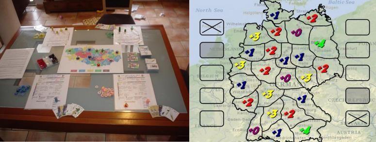 Partie en cours de la version 2006 du jeu... et prototype de Mars 2007