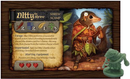 La carte de Ditty et sa figurine (exemple de production)