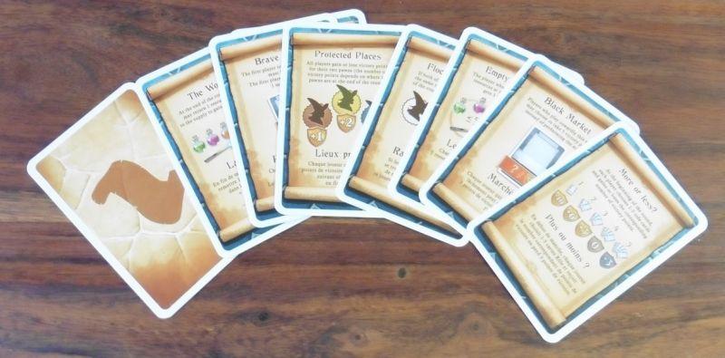 7 cartes parmi les 10 seront utilisées à chaque partie.