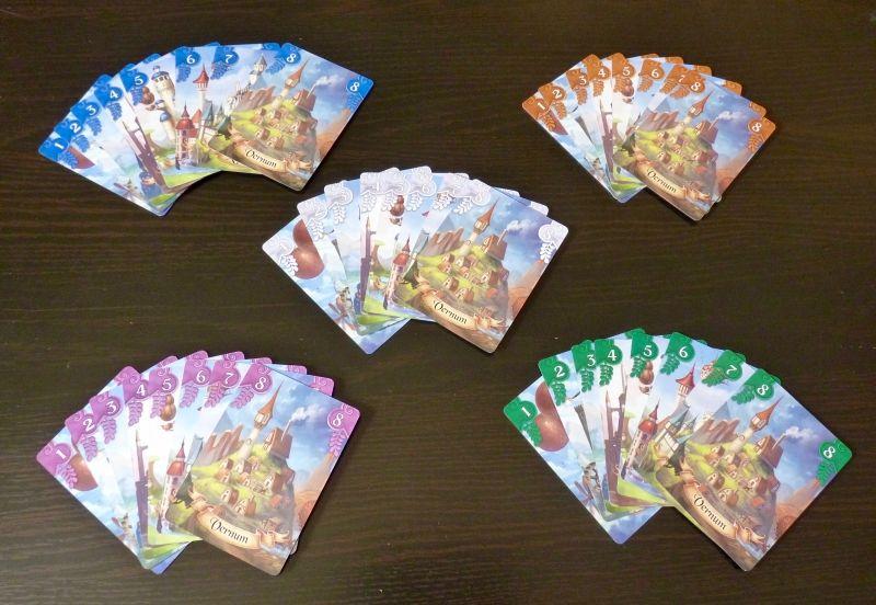 Les cartes Voyage au couleur des 5 joueurs.
