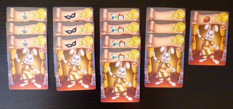 Les 14 cartes Comédiens avec leur cachet jaune.