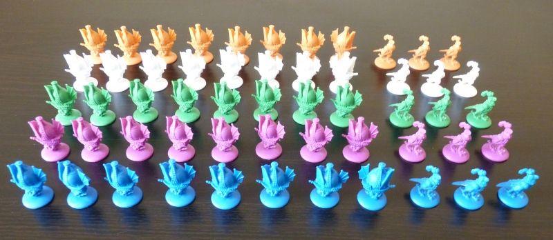 Le matériel des joueurs : 8 caravelles et 3 régisseurs à sa couleur.