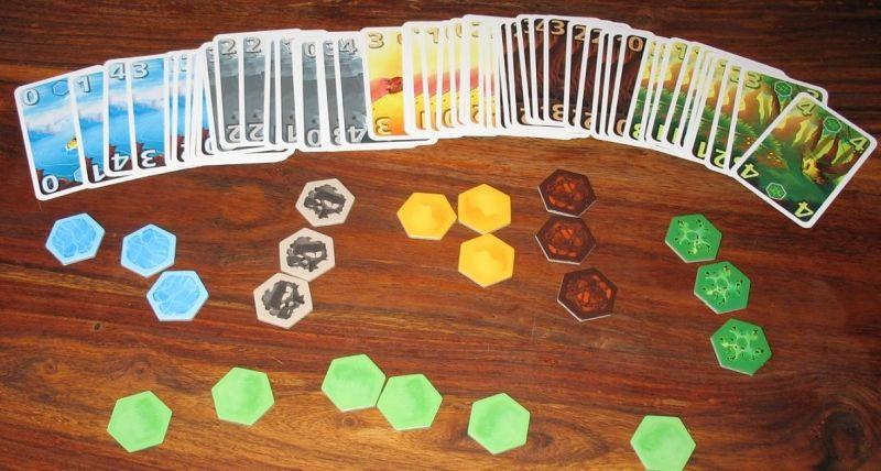 Pour chacun des 5 terrains : des cartes de 0 à 4 et 3 tuiles, et aussi 6 tuiles prairie