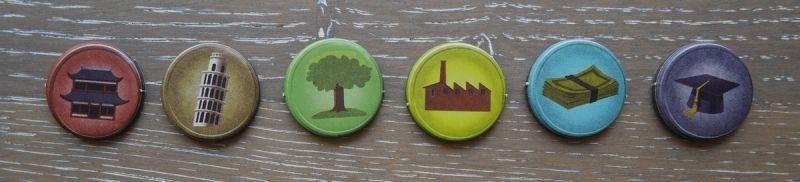 China Town, Little Italy, le parc, les usines, les banques et l'université. Ces jetons symbolisent votre emprise sur la ville.