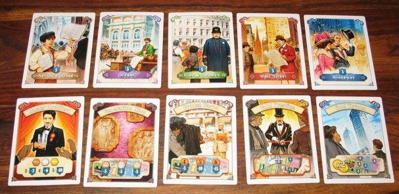 Les 5 cartes Bonus Rue (en haut) et 5 cartes Défi Bonus (en bas)