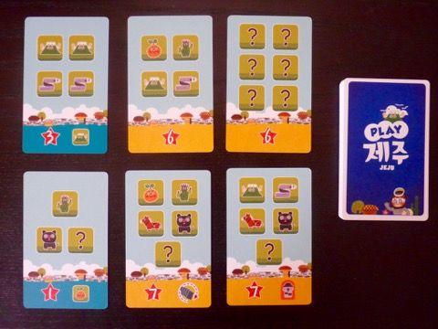 Quelques exemples de cartes parmi les 32 cartes du jeu avec les ressources pour les acquérir, les PV et les pouvoirs.