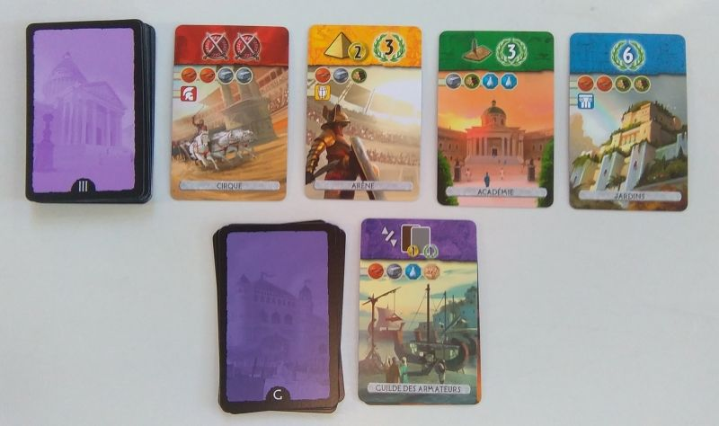 Exemples de cartes du 3 ème âge et une guilde.