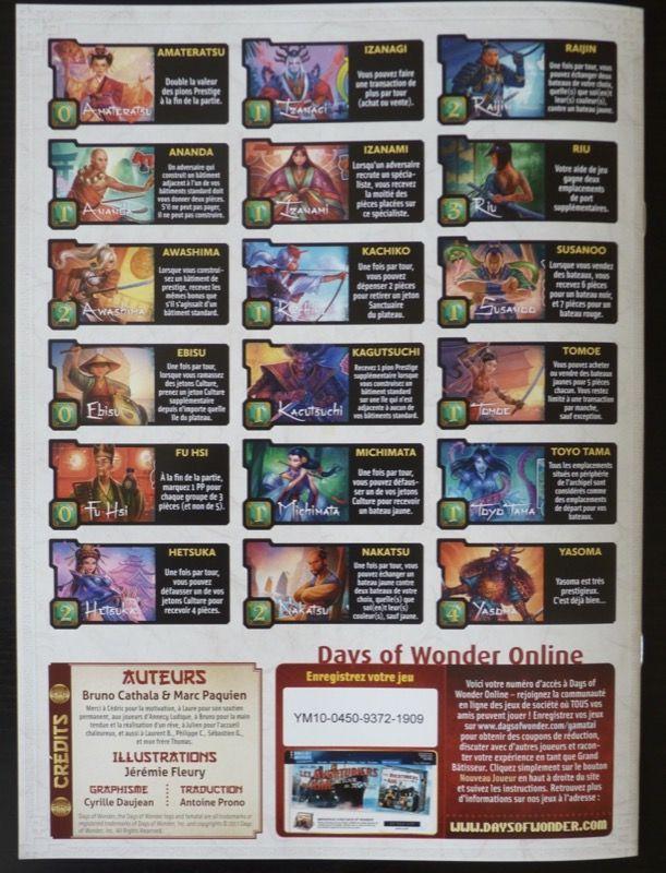 A la dernière page du livret on retrouve un rappel de chacun des pouvoirs des 18 tuiles Spécialiste. Bien vu !