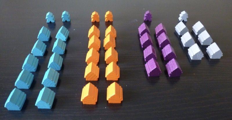 Les 34 bâtiments standard : 10 chacun pour 2 joueurs, 8 chacun pour3 joueurs et 6 chacun pour 4 joueurs.