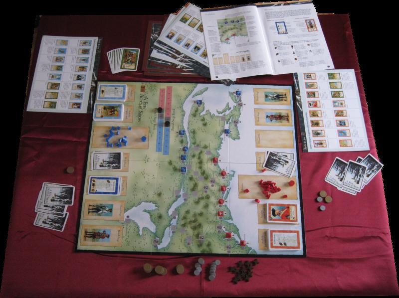 L'ensemble du matériel, avec les règles et les aides de jeu en 4 langues.