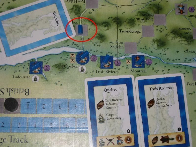 """Une colonisation, le Français part de """"Quebec"""" pour aller à """"Kennebec"""" avec la barque obtenue par """"Trois Rivières"""". Il gagne alors la carte Kennebec avec la colonie."""