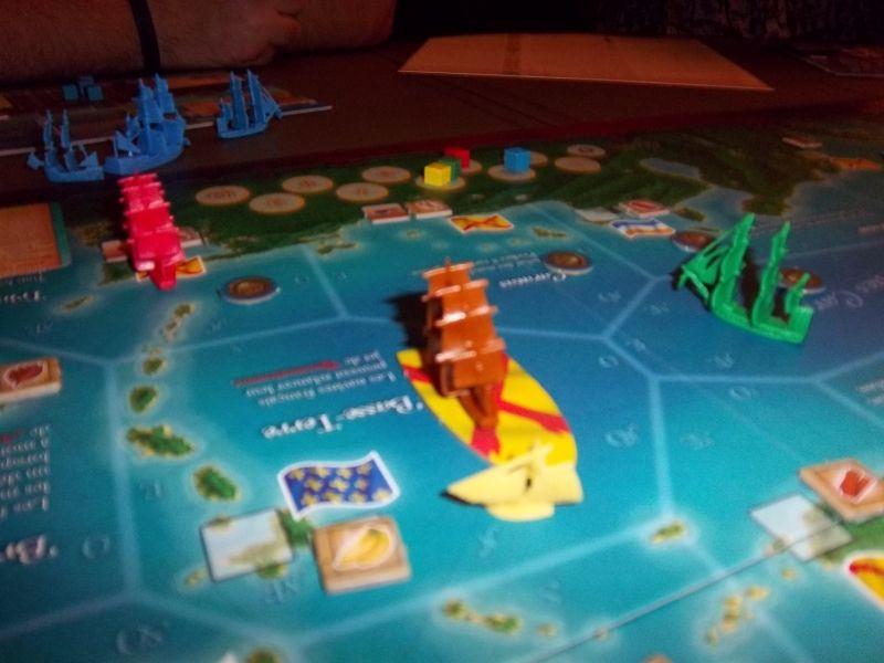 Un des moments de bravoure de la partie : le sloop de Thomas face à une frégate espagnole.
