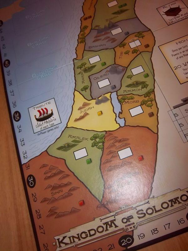 Quelques provinces du royaume de Salomon. Les carrés blancs sont destinés à recevoir des pions symbolisant des bâtiments.